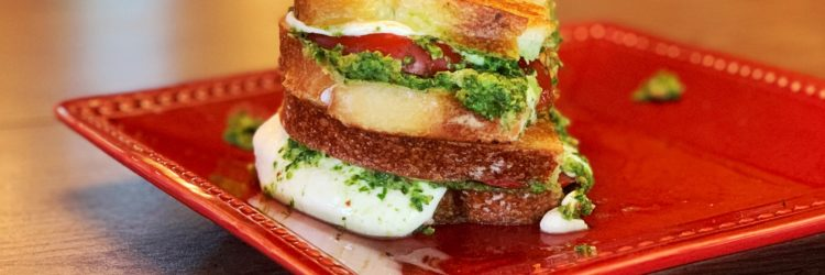 Grilled Caprese with Arugula Pesto